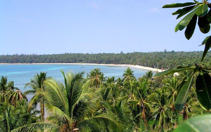 vue sur une baie de Koh Mak avec palmiers